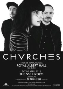 CHVRCHES gigs 2016 poster